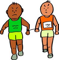 伴走者と共に走るマラソンランナー